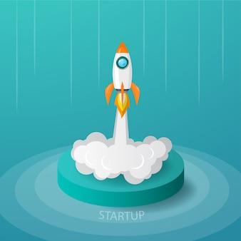 Rakieta kosmiczna wystrzeliwuje ze sceny do nieba w koncepcji uruchomienia biznesu lub projektu.