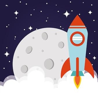 Rakieta kosmiczna z księżycem i chmurami na gwiaździstym tle i na tle futurystycznego i kosmicznego motywu