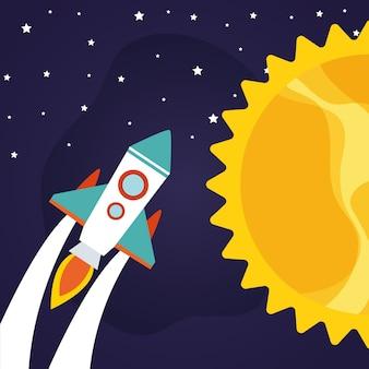 Rakieta kosmiczna ze słońcem na gwiaździstym tle o tematyce futurystycznej i kosmicznej