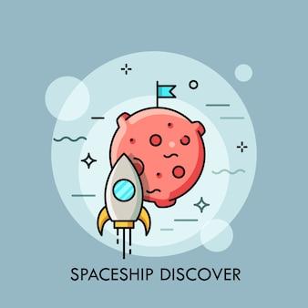 Rakieta lecąca na księżyc cienka linia ilustracji