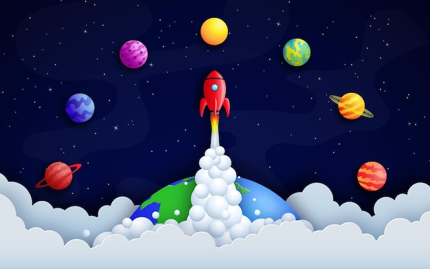 Rakieta leci nad ziemią wśród planet i gwiaździstej przestrzeni