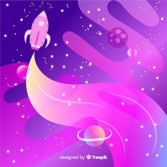 Rakieta podróżująca przez kolorowe tło gradientu przestrzeni