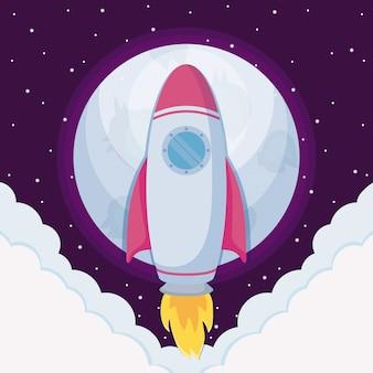 Rakieta startowa z chmurami i księżycem