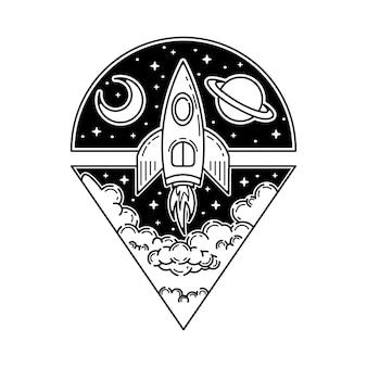 Rakieta tatto projekt monoline na zewnątrz