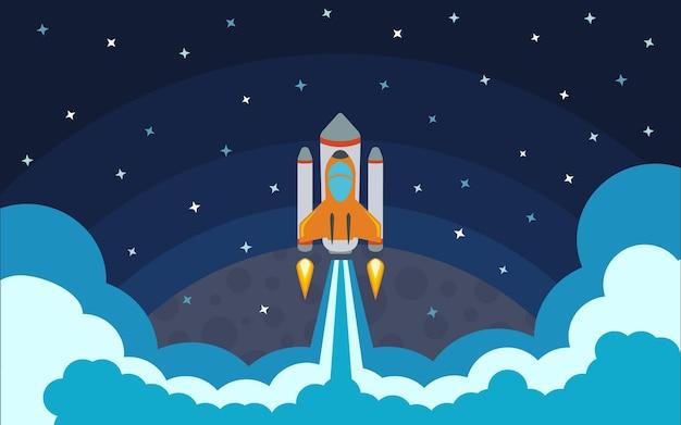 Rakieta zostaje usunięta z planety. rakieta w kosmosie. podróż kosmiczna. ilustracja wektorowa z latającą rakietą.