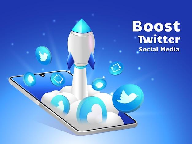 Rakieta zwiększająca media społecznościowe twitte ze smartfonem