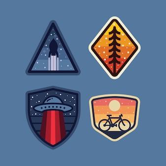 Rakietowej obcej natury odznaki łatki szpilki grafiki rowerowa ilustracja