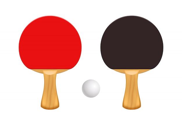 Rakiety do ping-ponga na białym tle
