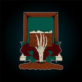Rakiety do sitodruku wektor, wektor kości ręki, wektor sitodruku