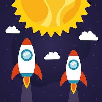 Rakiety kosmiczne ze słońcem i chmurami o tematyce futurystycznej i kosmicznej