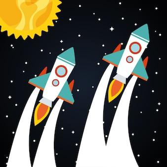 Rakiety kosmiczne ze słońcem na gwiaździstym tle o tematyce futurystycznej i kosmicznej