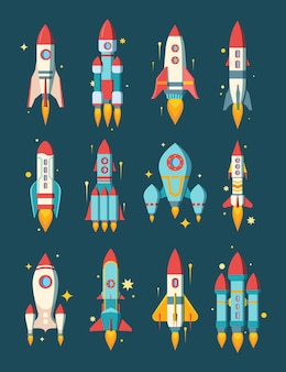 Rakiety kosmiczne zestaw ilustracji