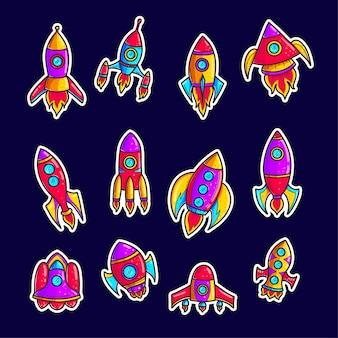 Rakiety kreskówka ręcznie rysowane zestaw łat kolor