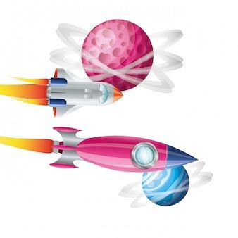 Rakiety latające z planetami układu słonecznego izolowane