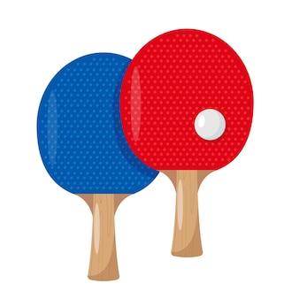 Rakiety lub rakietki do ping-ponga i sprzęt do tenisa stołowego z piłką