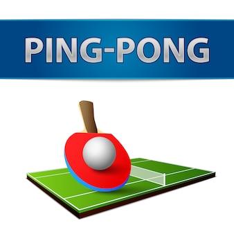 Rakiety pingpong realistyczny tenis stołowy z godłem na białym tle