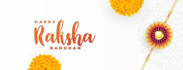 Raksha bandhan biały sztandar z rakhi i kwiatem