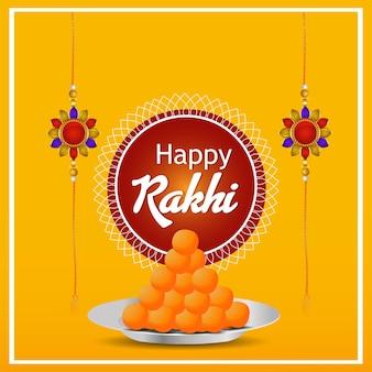 Raksha bandhan celebracja kartka z życzeniami z kryształowym rakhi