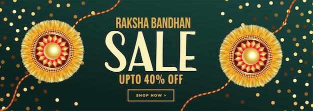 Raksha bandhan sprzedaż banner ze złotym rakhi