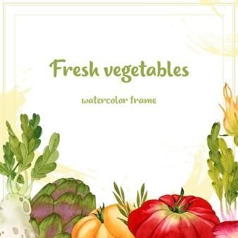 Rama akwarela świeżych dojrzałych warzyw