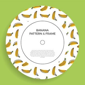 Rama baner z żółtymi owocowymi bananami. lato ilustracja z pustą przestrzenią dla teksta