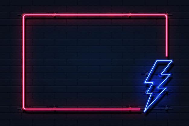 Rama błyskawicy neon. logo energii elektrycznej flash mocy na czarnym tle, koncepcja przerwy w dostawie prądu. piorun