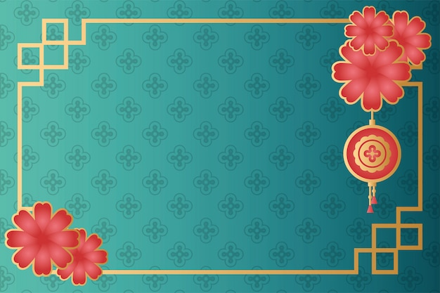 Rama festiwalu w połowie jesieni z kwiatami i wiszącą lampą
