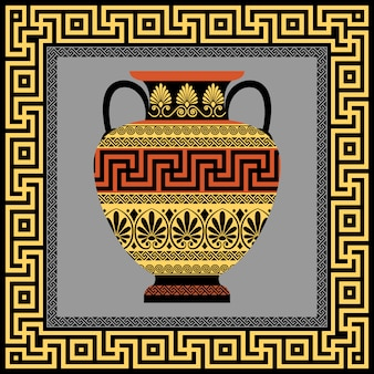Rama i amfora z greckim ornamentem meander
