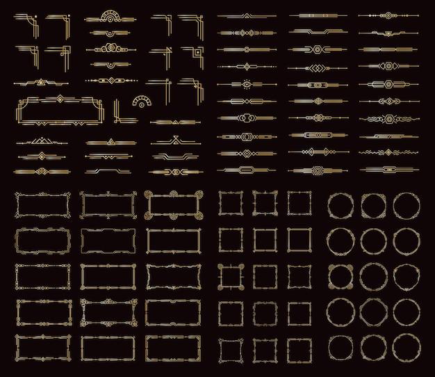 Rama i przegroda w stylu art deco zestaw piękny złoty element dekoracji w stylu wiktoriańskim dla antycznego menu