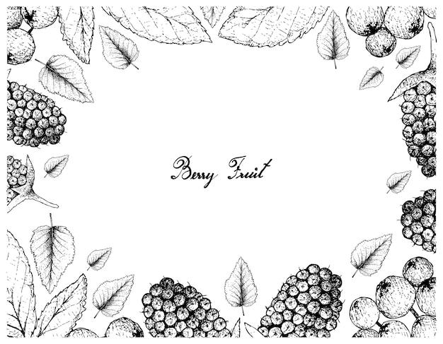 Rama ilustracja owoce tropikalne ręcznie rysowane szkic