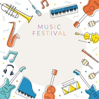 Rama instrumentów muzycznych, ilustracje liniowe