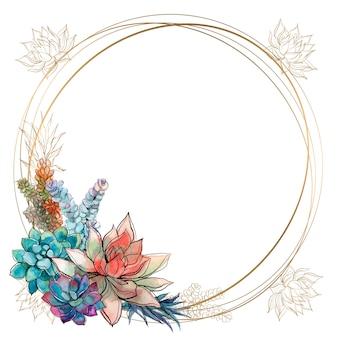 Rama jest okrągła. złota ramka z kwiatami sukulenty. akwarela.