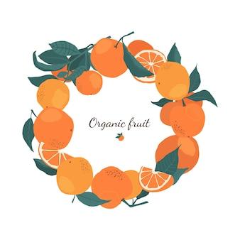 Rama koło pomarańczy na gałęziach z miejsca kopiowania w stylu płaski. szablon z owoców cytrusowych do projektowania broszur, banerów, etykiet. ilustracja wektorowa