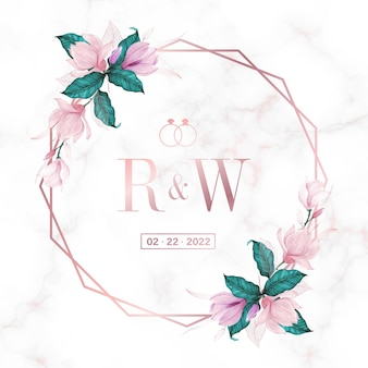 Rama koło w kolorze różowego złota z kwiatowym na marmurowym tle logo monogram ślubu i karta zaproszenie