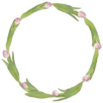 Rama koło z kwiatami tulipanów.