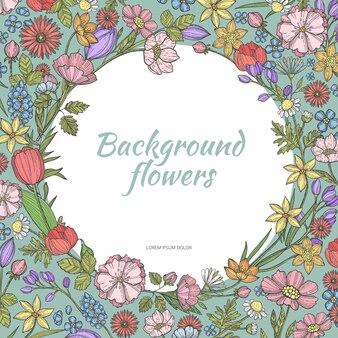 Rama koło z kwiatami.