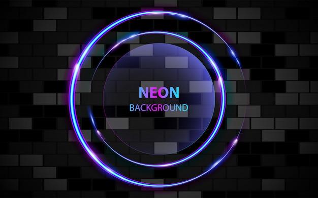 Rama koło z lekkim efektem neonowym na ciemnym tle