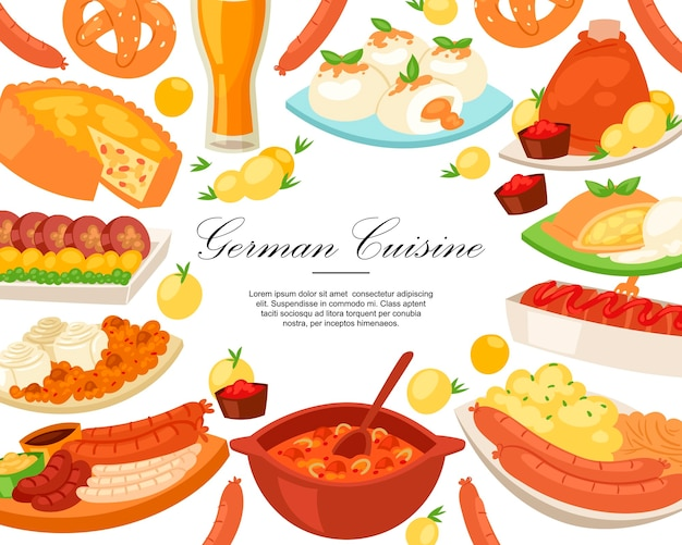 Rama kuchni niemieckiej. tradycyjne jedzenie w niemczech.