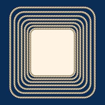 Rama kwadratowa nautyczna brązowych lin
