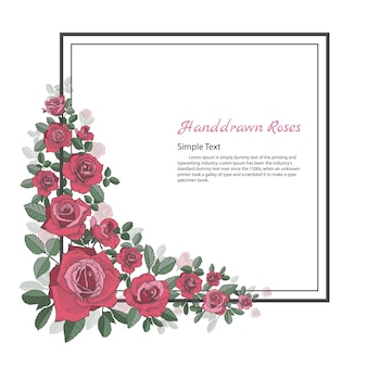 Rama Kwiat Róży. Rysować I Kreślić Na Białym Tle. Premium Wektorów