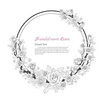 Rama kwiat róży. rysować i kreślić na białym tle.