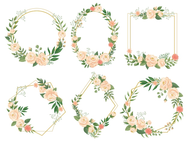 Rama kwiatów. kwiat obramowanie ramki, okrągły kwiat i ozdobny ślub kwiatowy kwadrat ilustracja karta zestaw