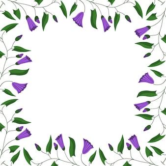 Rama kwiatowa. kwiaty i liście powojnika polnego.