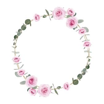Rama kwiatowe róże i liść eukaliptusa