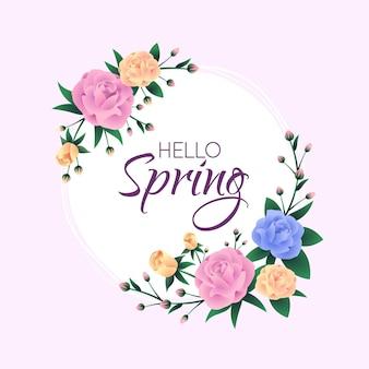 Rama kwiatowy realistyczne wiosna