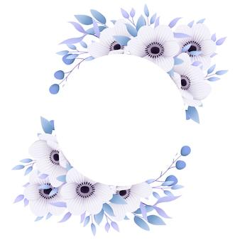 Rama kwiatowy tło z kwiatami anemon