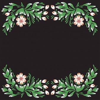 Rama kwiaty na czarnym tle ilustracji