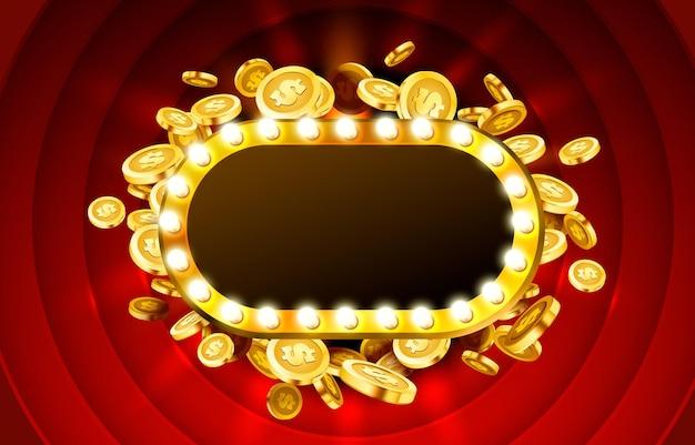 Rama lampy kasyna z złotym realistycznym tłem monet 3d.