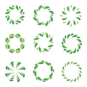 Rama liścia. koło liści. organiczny zielony streszczenie. kolekcja na białym tle eco granicy.