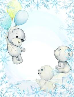 Rama, niebieskie gałązki i płatki śniegu. białe niedźwiedzie, foki, balony. śliczne zwierzęta polarne